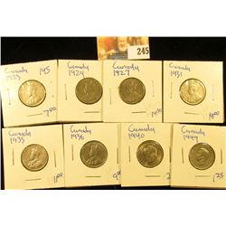 CANADIAN NICKEL LOT INCLUDES 1931, 1940, 1924, 1935, 1936, 1927, 1923, AND 1949