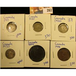 CANADIAN COIN LOT INCLUDES 1899 & 1918 LARGE CENTS AND FOUR SILVER CANADIAN DIMES DATED 1920, 1911,