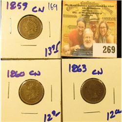 1859CN, 1860CN, AND 1863CN INDIAN HEAD PENNIES