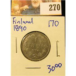 1890 SILVER SWEDISH 1 MARKKA COIN