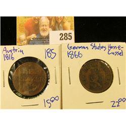GERMAN STATES/ HESSE-CASSEL 3 HELLER COIN DATED 1866 AND AUSTRIA 1816 EIN KREUZER