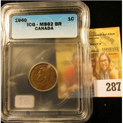 1940 CANADIAN PENNY GRADED MS 62 REDDISH BOWN BY ICG