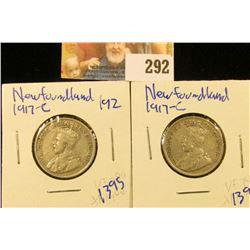2 1917-C NEWFOUNDLAND SILVER QUARTERS