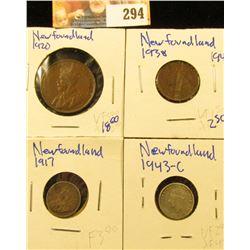 1920 NEWFOUNDLAND PENNY, 1943-C  &1917 NEWFOUNDLAND SILVER 5 CENT PIECE, AND 1938 NEWFOUNDLAND PENNY
