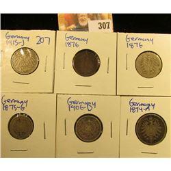GERMAN COIN LOT INCLUDES 1906-D SILVER HALF MARK, 1875-G 5 PFENNIG, 1874-A SILVER 1 MARK COIN, 1876