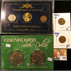 1932-D, 1933-D WHEAT PENNIES PLUS US INDIAN HEAD COLLECTION AND IKE DOLLAR SET
