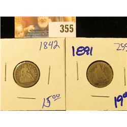 1891 AND 1842 SEATED DIMES