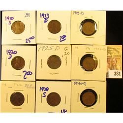 SEMI KEY DATE WHEAT PENNY 1910-S, 1920-D, 1930-D, 1938D, 1940-D, 1918-D, 1913-1925-D,  AND 1929-S