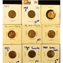 PENNY LOT INCLUDES 1913-S, 1909, 1945, 1948-D, 1952-D, 1951-D, AND 2 1960 SMALL DATE MEMORIAL PENNIE