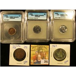 CANADIAN HODGEPODGE LOT INCLUDES 1967 SILVER HALF DOLLAR, 1952 CANADIAN NICKELS GRADED MS60 DETAILS,