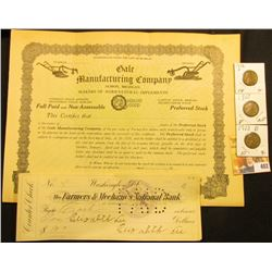 "Erie Railroad Company Sep. 4, 1951 100 Shares Stock Certificate; Post Card ""The Landing of Christoph"
