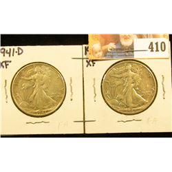1941 D & 42 P Walking Liberty Half Dollars, EF.