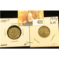 1935J 50 Reichspfennig Weimar Republic Germany, KM49 BU & 1919J German Silver Half Mark.