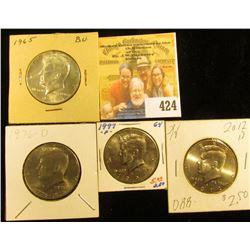 1965 P (Silver), 1976 D Bicentennial, 1997 P, & 2012 D Kennedy Half Dollars, all BU.
