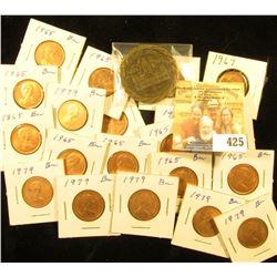 "(12) 1965, (2) 67, & (6) 79 Canada Maple Leaf Cents, all BU; & 1823-1973 ""Fayette Area Sesqui-Centen"