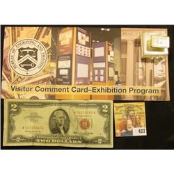 """Series 1963 $2 United States Note (some penciling); """"Bureau of Engraving and Printing Visitor Commen"""