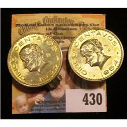 Pair of 1954 Clamp on Earrings made from Gold-plated Mexicon Five Centavos.