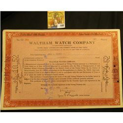 "Stock Certificate for 30 Shares of ""Waltham Watch Company"" Common Stock, dated 1950."