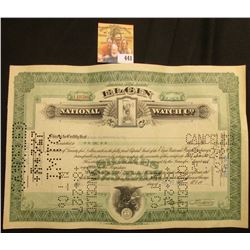 """Cancelled Stock Certificate for One Share of """"Elgin National Watch Company"""" Common Stock, dated July"""
