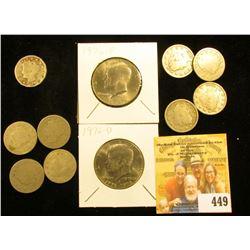 "(4) 1892, 1894, & (4) 1903 U.S. Liberty ""V"" Nickels, all circulated; 1976 P & D Bicentennial Kennedy"