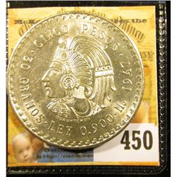 1947 Mexico Silver Cinco 5 Pesos depicting the Aztec Emperor, Cuauhtémoc ~ Ley 0.900 ~ BU ~ UNCIRCUL