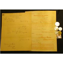 March 25th, 1889 & August 22, 1889  Department of the Interior, Bureau of Pensions,  letters signed