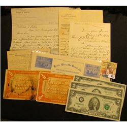 "1882-1891 Correspondence from the ""Department of the Interior Bureau of Pensions""; pair of Malt Liqu"