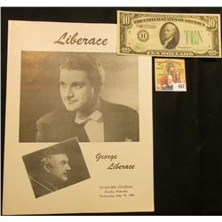 May 19, 1954 Program Ak-Sar-Ben Coliseum, Omaha, Nebraska  George Liberace ; & Series 1934A Ten Doll