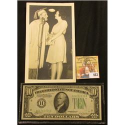 "4"" x 6 3/4"" Black & White photo of Kay Kyser greeting a gal in front of a microphone, back states ""T"