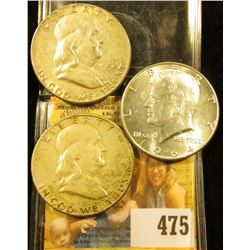 1952 P VF, 54 P Fine Franklin Half Dollars; & 1964 P Kennedy Half Dollar, BU.