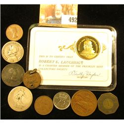 Sterling Silver Gold-plated Medal with membership card; & several foreign coins and tokens, includin