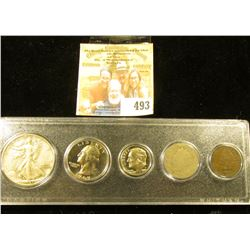 Snaptight case containing 1890 Indian Cent, 1900 Liberty Nickel, 1980 S Proof Dime, 1969 S Proof Was