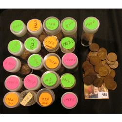 A Nice selection of U.S. Lincoln Cents, most or all of which are 'Wheat Back' and in plastic tubes.