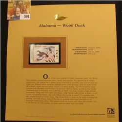 2003 Alabama Waterfowl $5.00 Stamp, mint, unused with original literature mounted in a plastic page.