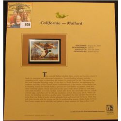 2003 California Waterfowl $10.50 Stamp, mint, unused with original literature mounted in a plastic p