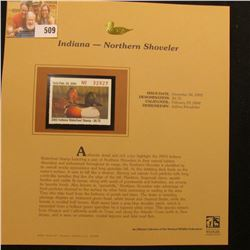 2003 Indiana Waterfowl $6.75 Stamp, mint, unused with original literature mounted in a plastic page.