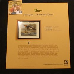 2003 Michigan Waterfowl $5.00 Stamp, mint, unused with original literature mounted in a plastic page