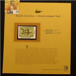 2003 South Carolina Waterfowl $5.50 Stamp, mint, unused with original literature mounted in a plasti