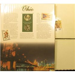 2002 P & D Ohio Fleetwood cover with Ohio Statehood Pair of Quarters, complete in original packaging