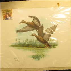 1996 Fleetwood hand autographed print of a pair of Ducks (Either a Pair of Black Ducks, or two hen M