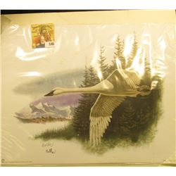 """2002 Fleetwood hand autographed print of a Trumpeter Swan by Don Balke, 10.5"""" x 13.25""""."""