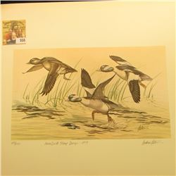 "1979 Iowa Duck Stamp Buffleheads by Andrew D. Peters, no. 213/750. 12.5"" x 16.5"", Hand autographed."