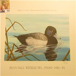 "Tom Crain Missouri Waterfowl Stamp 1981-82 Signed and autographed Print no. 893/1000, measures 12"" x"