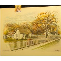 "12"" x 17"" Stan Haring Color Print of Herbert Hoover Birthplace."
