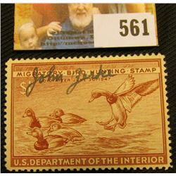 1946 RW13 Federal Migratory Bird Hunting $1 Stamp, signed and obviously used for hunting.