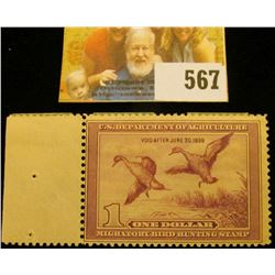 1938 RW5 Federal Migratory Bird Hunting $1 Stamp, unsigned, hinged, tab left. Near Mint.