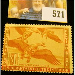 1944 RW11 Federal Migratory Bird Hunting $1 Stamp, unsigned, original gum, NH, VF.