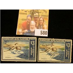 Pair of 1967 RW34 Federal Migratory Bird Hunting $3 Stamp, signed, each depicts a pair of Old Squaw