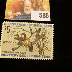 1974 RW 41 Federal Migratory Bird Hunting $5 Stamp, unsigned, original gum.