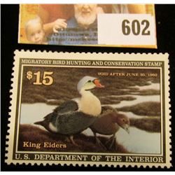 1991 RW 58 Federal Migratory Bird Hunting $15.00 Stamp, unsigned, original gum, NH, VF.